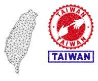 Polygonale Mesh Taiwan Island Map- und Schmutz-Stempel stock abbildung