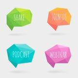 Polygonale Sprache-Blasen oder Gesprächs-Ballone mit Schatten Crystal Glass Flat Design Signs Stockfotografie