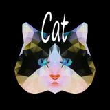 Polygonale Vektorillustration einer Katze Stockfoto