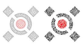Polygonaler Draht-Rahmen Mesh Central Link und Mosaik-Ikone vektor abbildung