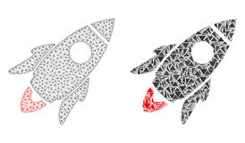 Polygonaler Draht-Rahmen Mesh Space Rocket und Mosaik-Ikone stock abbildung