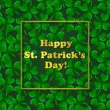 Polygonaler drei-leaved Klee St- Patrick` s Tagesgrußkarte stock abbildung