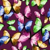 Polygonaler farbiger Schmetterling des nahtlosen Beschaffenheitsmusters auf Purpur Lizenzfreie Stockfotos
