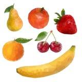 Polygonaler Fruchtsatz Vektor lokalisierte Illustration Lizenzfreie Stockfotos