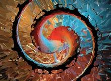 Polygonaler gewundener abstrakter Hintergrund mit weißem wireframe Stockfoto