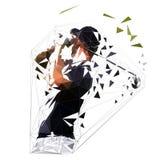 Polygonaler Golfspieler, niedrige Polyvektorillustration stock abbildung