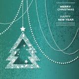 Polygonaler Hintergrund der frohen Weihnachten mit Schneeflocken Stockbilder
