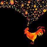 Polygonaler roter Hahn auf schwarzem Hintergrund Grußauto des neuen Jahres Lizenzfreies Stockbild