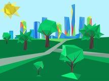 Polygonaler Stadtbildpark lizenzfreie abbildung