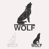 Polygonaler Wolflogosatz Stockfotos