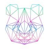 Polygonales abstraktes Pandaschattenbild gezeichnet in eine ununterbrochene Linie Stockfoto