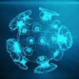 Polygonales Bakterien- oder Viruskonzept Dünne Linie Konzept Polygonale bestehende blaue Punkte und Linien Blaue Struktur-Art lizenzfreie stockfotos