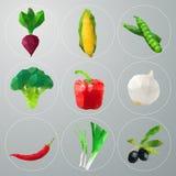 Polygonales Gemüse des Vektors eingestellt Lizenzfreie Stockbilder