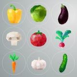 Polygonales Gemüse des Vektors eingestellt Lizenzfreies Stockfoto