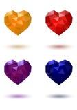 Polygonales Herz rotes gelbes blaues Purpur Stockbild
