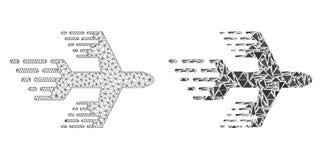 Polygonales Netz Mesh Airplane und Mosaik-Ikone vektor abbildung