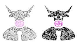 Polygonales Netz Mesh Bull Boss und Mosaik-Ikone vektor abbildung