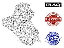 Polygonales Netz Mesh Vector Map von Irak- und Netz-Schmutz-Stempeln lizenzfreie abbildung