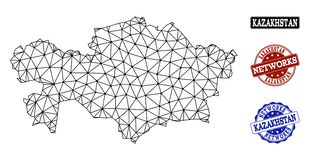 Polygonales Netz Mesh Vector Map von Kasachstan- und Netz-Schmutz-Stempeln stock abbildung