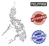 Polygonales Netz Mesh Vector Map von Philippinen und von Netz-Schmutz-Stempeln stock abbildung
