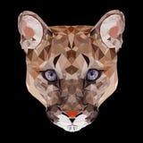 Polygonales Porträt des Pumas der großen Katze Stockfotografie