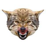 Polygonales Porträt des Wolfs Stockbild