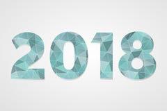 polygonales Symbol des Vektors 2018 Abbildung des glücklichen neuen Jahres Lokalisiertes blaues infographic Logo auf grauem Steig Stockbilder