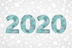 polygonales Symbol des Vektors 2020 Abstrakte Dreieckikone des guten Rutsch ins Neue Jahr Abstraktes Hintergrundmuster der weißen Lizenzfreies Stockfoto