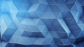 Polygonales techno blaue Oberflächenzusammenfassung 3D übertragen Stockbilder