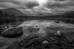 Polygonalnoe lake in B&W Royalty Free Stock Image