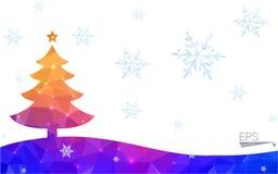 Polygonart-Weihnachtsbaumillustration der blauen, gelben Postkarte niedrige, die aus Dreiecken besteht Lizenzfreie Stockfotos