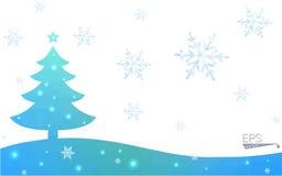 Polygonart-Weihnachtsbaumillustration der blauen Postkarte niedrige, die aus Dreiecken besteht Stockfoto