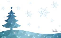 Polygonart-Weihnachtsbaumillustration der blauen Postkarte niedrige, die aus Dreiecken besteht Stockbilder
