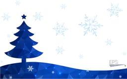 Polygonart-Weihnachtsbaumillustration der blauen Postkarte niedrige, die aus Dreiecken besteht Stockfotos