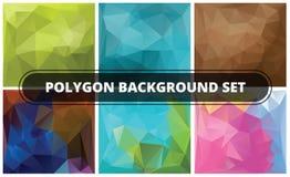 Polygonbakgrundsuppsättning Abstrakt geometriska bakgrunder Polygonal vektordesign Arkivbild