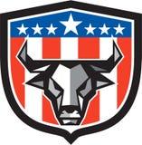 Polygone de crête de drapeau des Etats-Unis de tête de vache à Taureau bas Photo stock