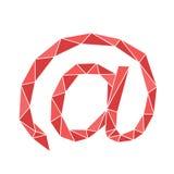 Polygone rouge au signe de l'email Photo libre de droits