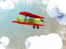Polygonflugzeug auf grunge Hintergrund Stockbild