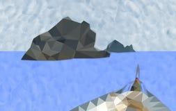 Polygoninsel und -boot im Ozean Stockfotografie