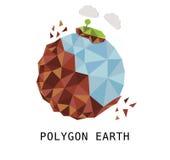 Polygonjord som isoleras i det vita ömolnhavet Arkivfoto