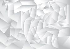Polygonmusterzusammenfassungs-Hintergrund-, weißes und Grauesthema Stockfoto