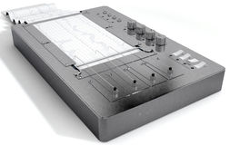 Polygraph Lie Detector Machine. A 3D render of a polygraph lie detector machine drawing red lines on graph paper Stock Image