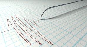 Polygraph Naald en Tekening Royalty-vrije Stock Afbeelding