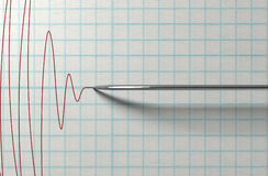 Polygraph Needle And Drawing. A closeup of a polygraph lie detector test needledrawing a red line on graph paper on an isolated white background Royalty Free Stock Photos