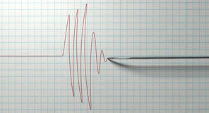 Polygraph Needle And Drawing. A closeup of a polygraph lie detector test needledrawing a red line on graph paper on an isolated white background Royalty Free Stock Image