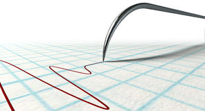 Polygraph Needle And Drawing. A closeup of a polygraph lie detector test needledrawing a red line on graph paper on an isolated white background Stock Images