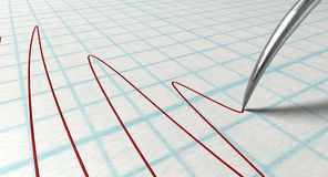 Polygraph Needle And Drawing. A closeup of a polygraph lie detector test needledrawing a red line on graph paper on an isolated white background Stock Photography