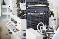 Polygraphic machine in a modern printing house. Close up Royalty Free Stock Images