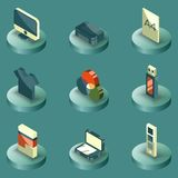 Polygraphy color isometric icons. Vector illustration, EPS 10 Stock Photography