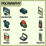 Polygraphy color outline isometric icons. Vector illustration, EPS 10 Royalty Free Stock Photo